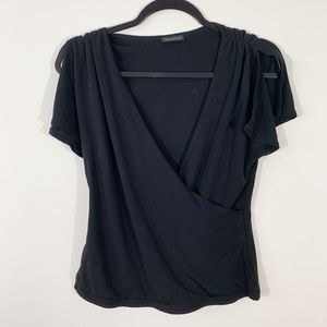 Tahari . Faux Wrap S/S Open Shoulder Blouse . M